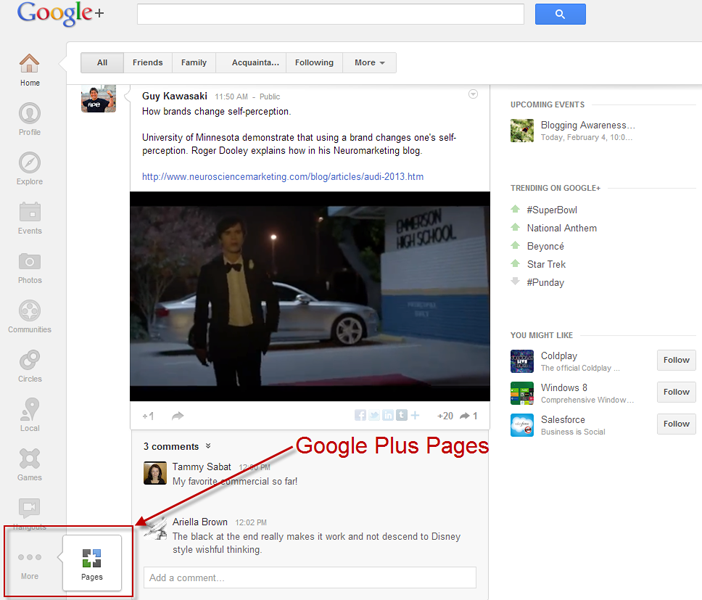 how to get google business page